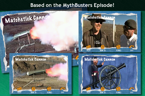 Screenshot MythBusters Matchstick Cannon iPhone and iPod Touch Edition